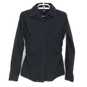 Solid Black Button Down Shirt Ruched Sides XXS